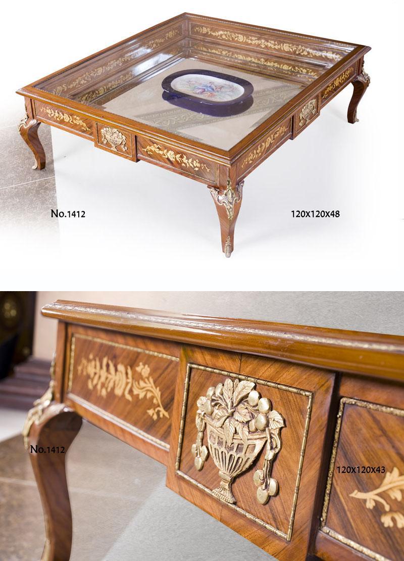 Casa Padrino Barock Wohnzimmer Salon Tisch Mahagoni Hotel Fastronomie Restaurant Möbel Einrichtung Ausstattung