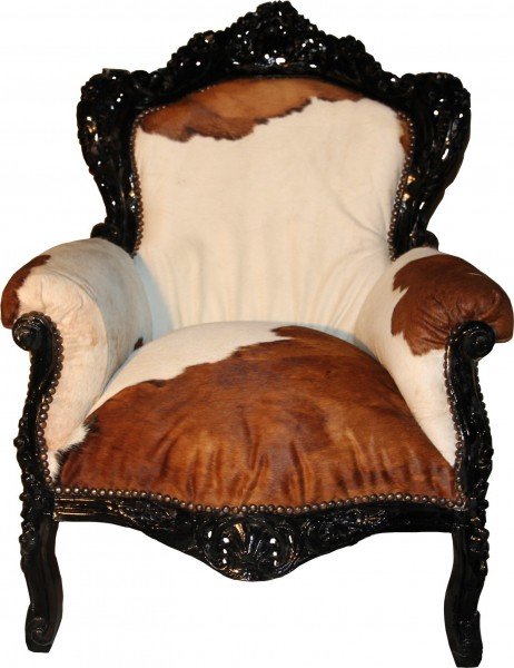 casa padrino barock sessel king kuhfell braun echtes kuh fell ebay. Black Bedroom Furniture Sets. Home Design Ideas