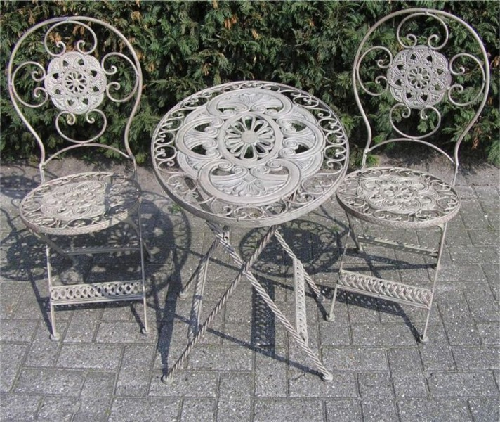 jugendstil gartenm bel set french gray 1 tisch 2 st hle metall garten m bel ebay. Black Bedroom Furniture Sets. Home Design Ideas