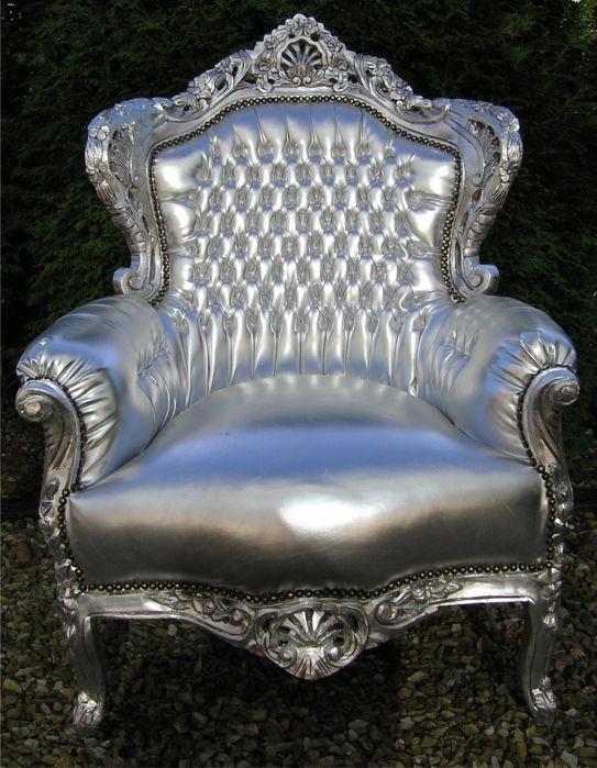 casa padrino barock sessel king silber silber lederoptik m bel thron tron ebay. Black Bedroom Furniture Sets. Home Design Ideas