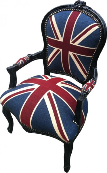 Barock salon stuhl union jack schwarz m bel antik stil for Sessel union jack