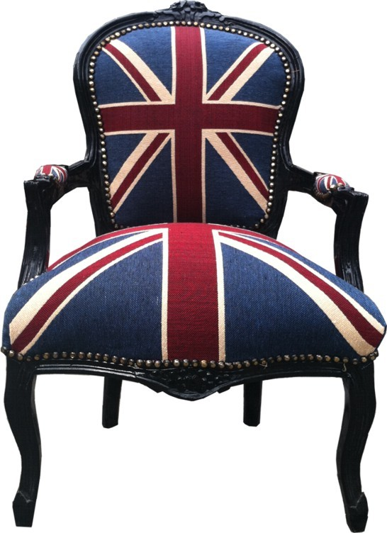 barock salon stuhl union jack schwarz m bel antik stil sessel wohnzimmer. Black Bedroom Furniture Sets. Home Design Ideas