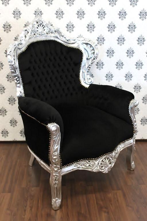 barock sessel king schwarz silber m bel antik stil ebay. Black Bedroom Furniture Sets. Home Design Ideas