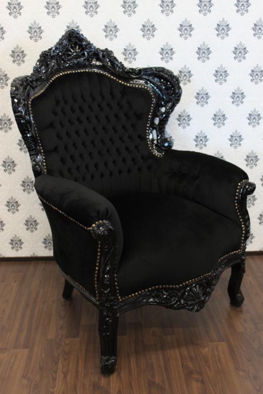 barock sessel king schwarz schwarz m bel antik stil ebay. Black Bedroom Furniture Sets. Home Design Ideas