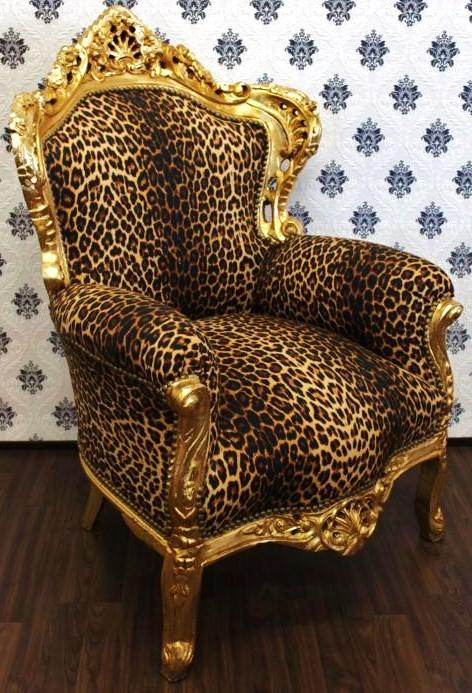 barock sessel king leopard gold barockstil muster m bel antik stil ebay. Black Bedroom Furniture Sets. Home Design Ideas