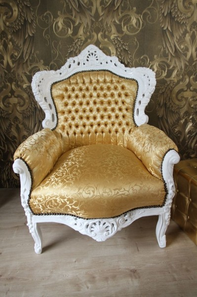 barock sessel king gold muster weiss m bel antik stil ebay. Black Bedroom Furniture Sets. Home Design Ideas