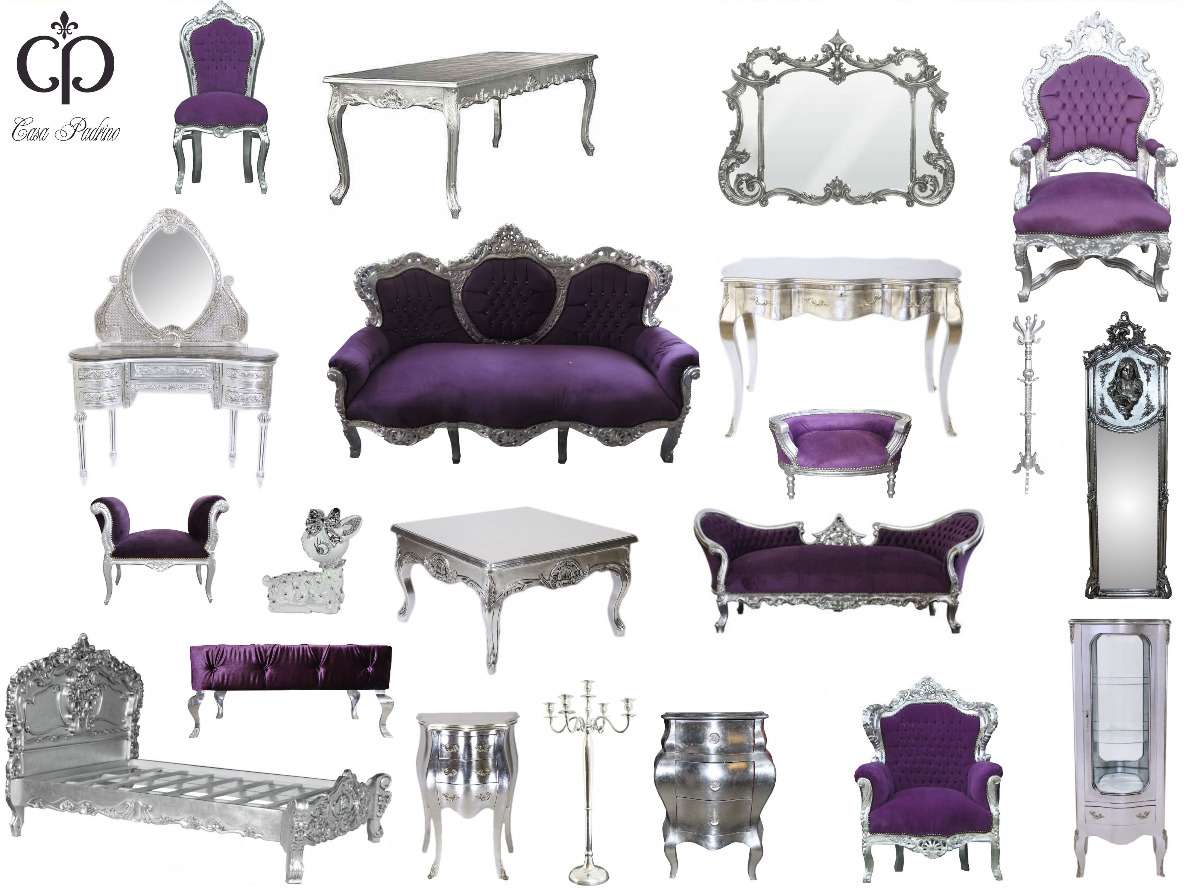 Casa Padrino, lila, silber, Kollektion, Barock Möbel, Luxus Designer Möbel