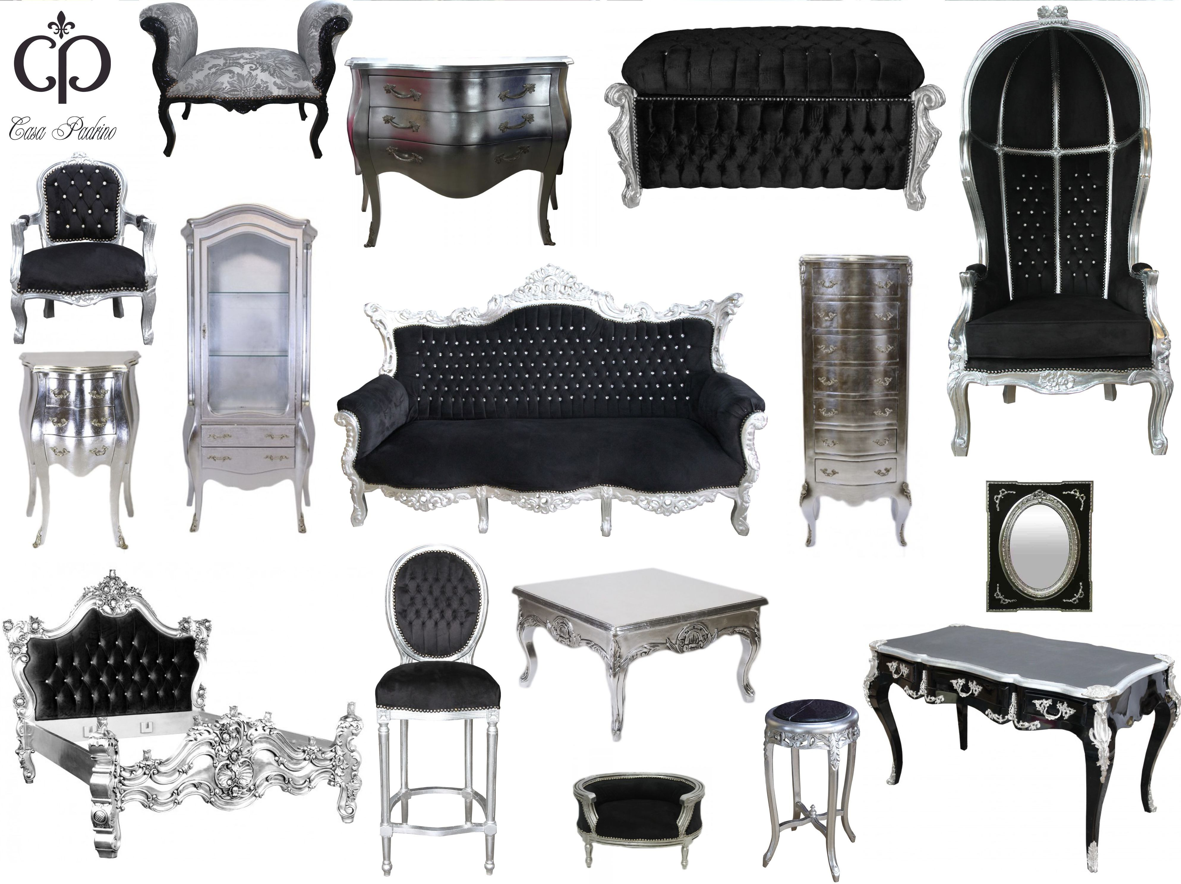 schwarz silber casa padrino barock m bel barockdesign. Black Bedroom Furniture Sets. Home Design Ideas