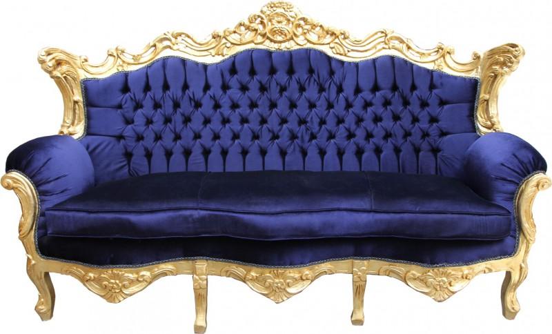 casa padrino barock sofa master royal blau gold wohnzimmer m bel couch lounge ebay. Black Bedroom Furniture Sets. Home Design Ideas