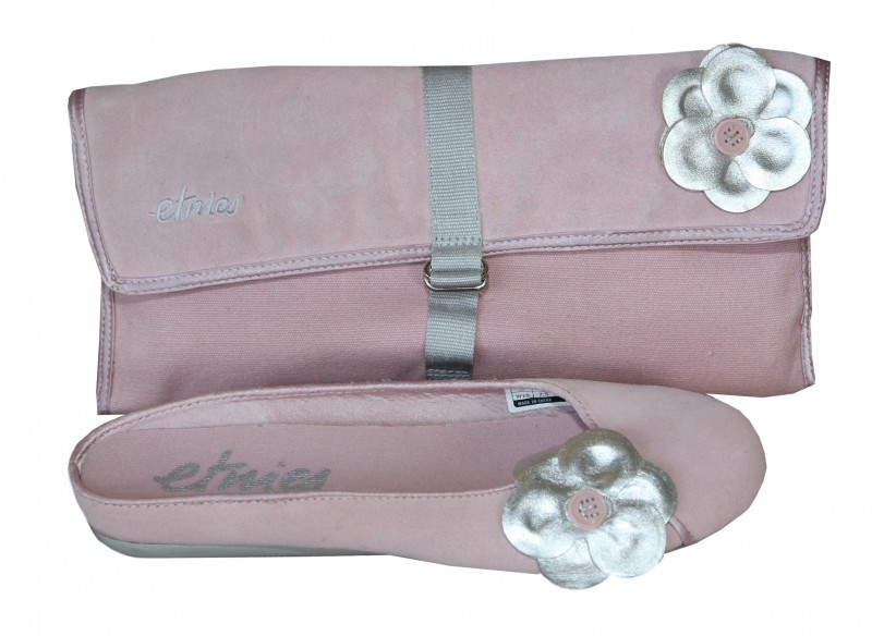 Skateboard Damen Ballerinas Pixie Rosa/Silber + Clutch Tasche Rosa/ Silber 1 B Ware